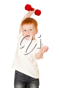 Royalty Free Photo of a Little Boy With a Dumbbell