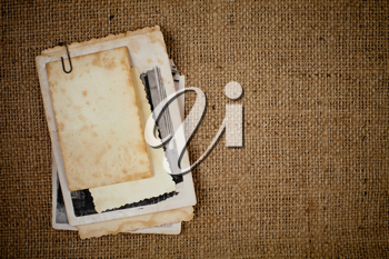 Royalty Free Photo of Paper on Burlap