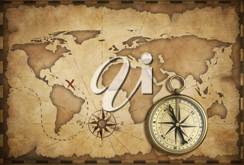 Royalty Free Clipart Image of an Old Map and Compass