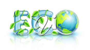 Royalty Free Clipart Image of a Globe Finishing the Word Eco