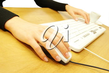 Royalty Free Photo of a Woman Typing at a Computer