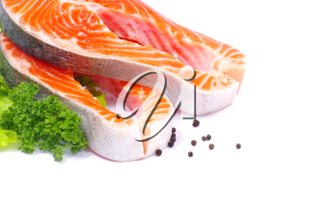 Royalty Free Photo of Salmon and Lettuce