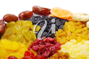 assorted dried fruits isolated on white