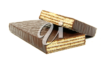 chocolate waffles isolated on a white