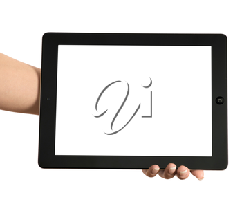 tablet computer in a hand