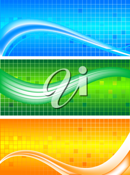 Royalty Free Clipart Image of a Set of Wavy Banners