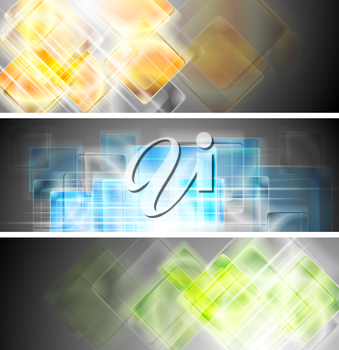 Glossy technology banners. Vector design eps 10
