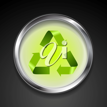 Metal button with green recycle logo sign. Vector background template
