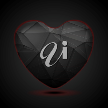 Black polygonal heart with red light. Vector tech Valentine Day graphic design background