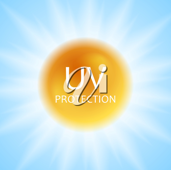UV protection concept design with shiny sun and sunlight. Vector background