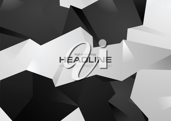 Black and white 3d polygonal shapes vector background