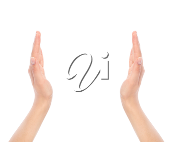 opened woman's hands on white background