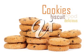 A stack of chocolate chip cookies isolated on a white background.
