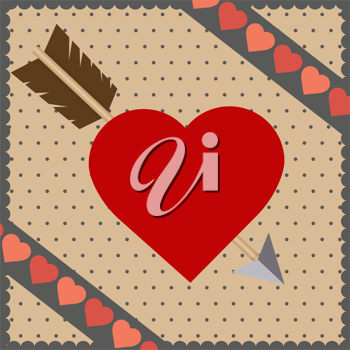 Royalty Free Clipart Image of a Heart and Arrow on a Background