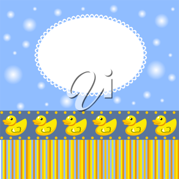 Royalty Free Clipart Image of a Blue Background With Baby Ducks