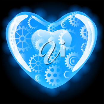 Royalty Free Clipart Image of Gears in a Heart