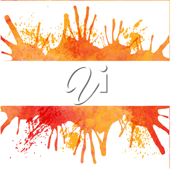 Orange watercolor paint vector background with blots and banner