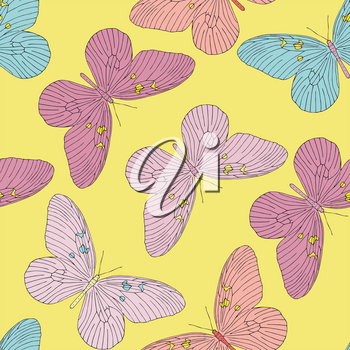 Hand drawn butterfly seamless pattern. Vector illustration.