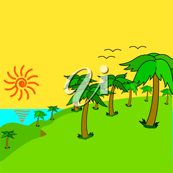 Royalty Free Clipart Image of Tropical Palm Trees