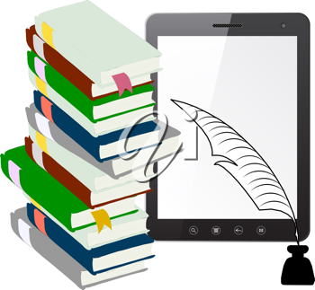 Royalty Free Clipart Image of a Tablet and Books
