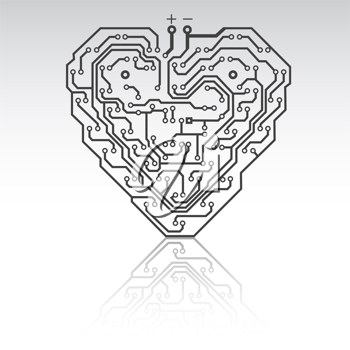 Royalty Free Clipart Image of a Heart Circuit Board