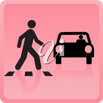 Royalty Free Clipart Image of a Person Crossing In Front of a Vehicle