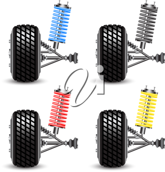 Royalty Free Clipart Image of Car Suspensions