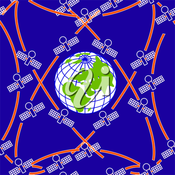 Royalty Free Clipart Image of Space Satellites Orbiting Earth