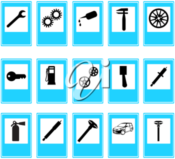 Royalty Free Clipart Image of Auto Repair Icons