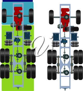 Royalty Free Clipart Image of a Truck's Suspension