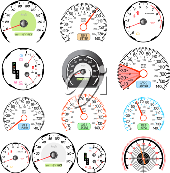 Royalty Free Clipart Image of Speedometers