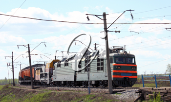head of train - green electric locomotive