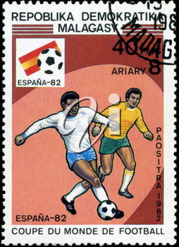 MALAGASY - CIRCA 1982: A post stamp printed in Malagasy shows shows football, series devoted World Cup in Spain, circa 1982.
