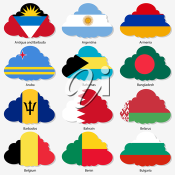 Set  Flags of world sovereign states in  form  clouds. Vector illustration. Set number 2. Exact colors. Easy changes.