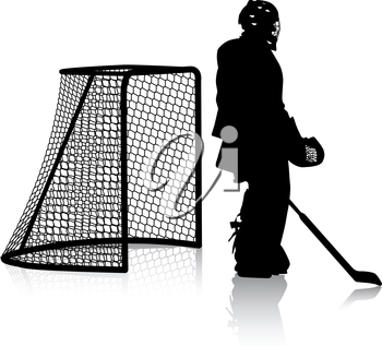 Silhouettes of hockey player. Isolated on white. illustrations.