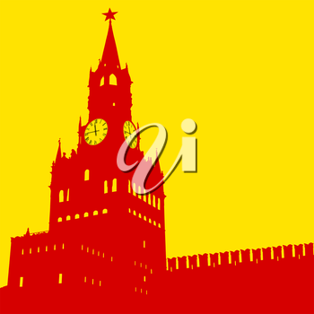 Moscow, Russia, Kremlin Spasskaya Tower with clock, silhouette, vector illustration.
