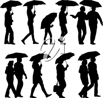 Black silhouettes man and woman under umbrella. Vector illustrations.