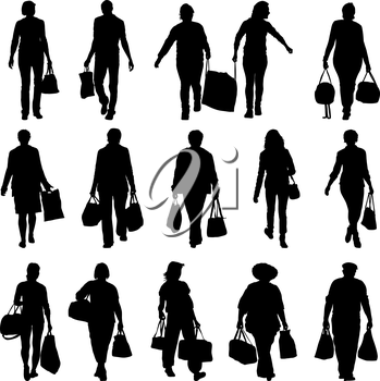 Black silhouettes mans and womans with bags and packages on white background. Vector illustration.
