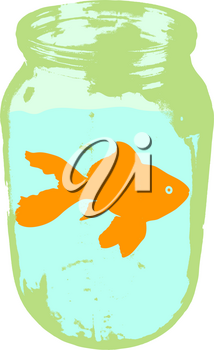 Color silhouette of aquarium fishin a jar with water on white background.