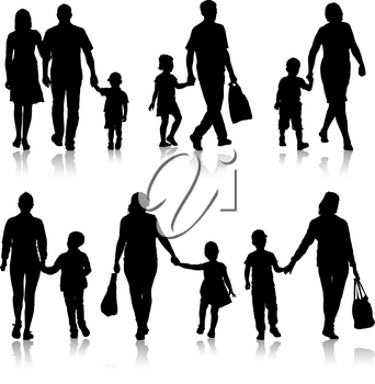 Set silhouette of happy family on a white background. Vector illustration