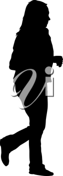 Black silhouette woman standing, people on white background.