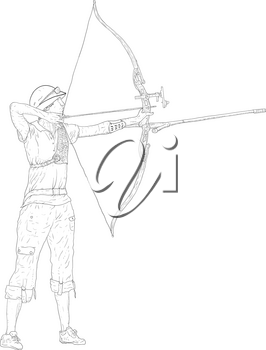 Sketches silhouettes attractive female archer bending a bow and aiming in the target.