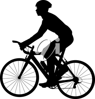 Silhouette of a sports cyclist on a white background.