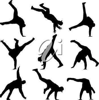 Black set Silhouettes breakdancer on a white background.