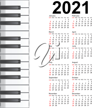 New calendar 2021 with a musical background piano keys.