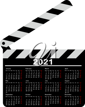 Calendar for 2021, movie clapper board on a white background.