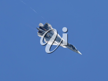 Moscow Russia Zhukovsky Airfield 31 August 2019: Demonstration of the latest Russian SU-57 fighterof the international aerospace salon MAKS-2019.