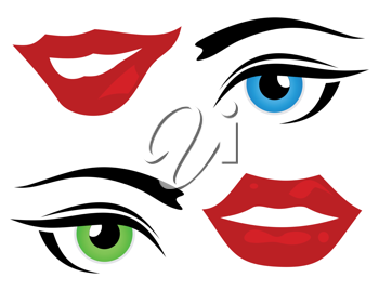 Set of icons of a lip and eye. A vector illustration