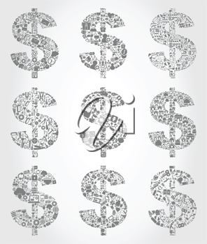 Set of dollars for design. A vector illustration