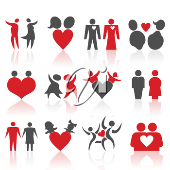 Set of icons on a theme of love of people. A vector illustration
